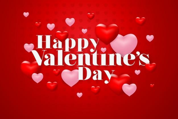 Lettrage joyeux saint valentin avec coeur sur fond rouge