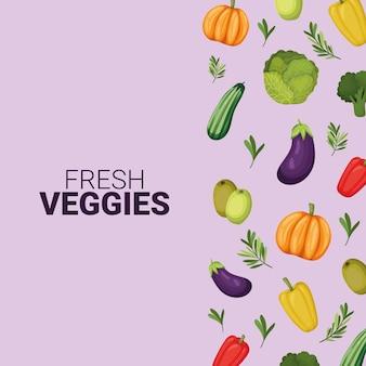Lettrage de légumes frais