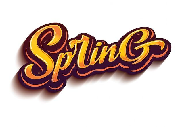 Lettrage de logo de printemps sur vecteur de style design couleurs dégradé