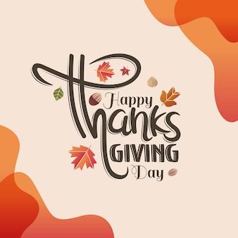 Lettrage à la main bonne fête de thanksgiving