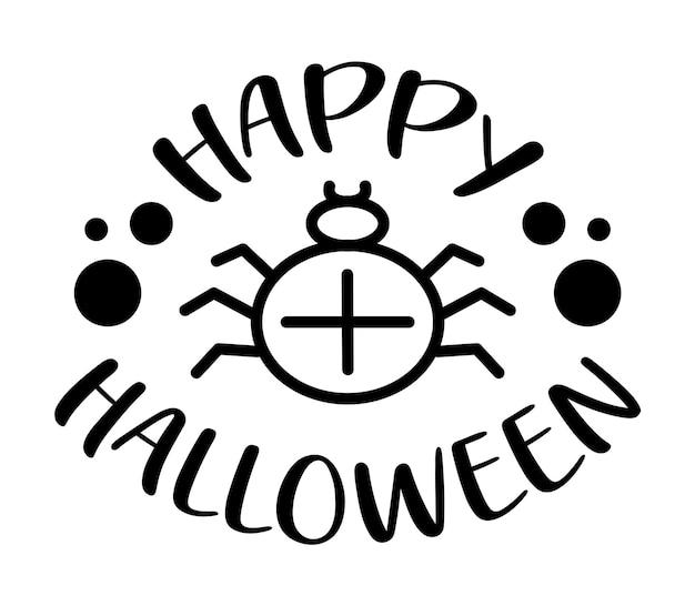 Lettrage de main de halloween heureux avec l'araignée