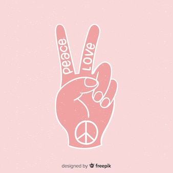 Lettrage main signe de paix