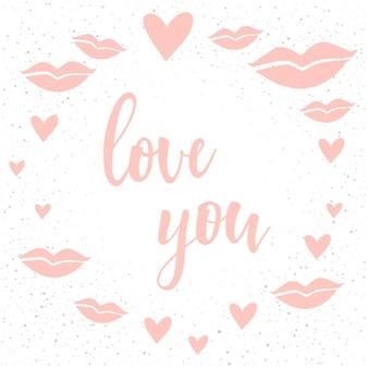 Lettrage manuscrit sur blanc. doodle fait à la main amour vous citation et coeur dessiné à la main pour t-shirt de conception, carte de mariage, invitation nuptiale, brochures de la saint-valentin, scrapbook, album, etc.