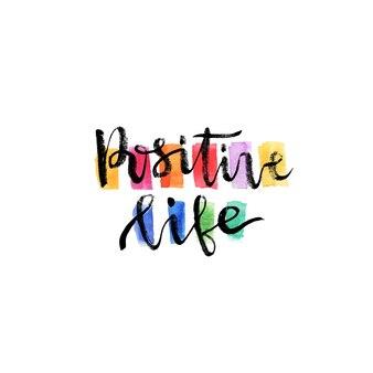 Lettrage manuscrit inspiré et motivant. vector main lettrage sur fond créatif. vie positive
