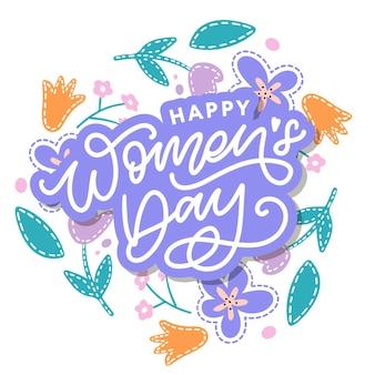 Lettrage manuscrit de la journée de la femme heureuse. calligraphie moderne dessinée à la main.