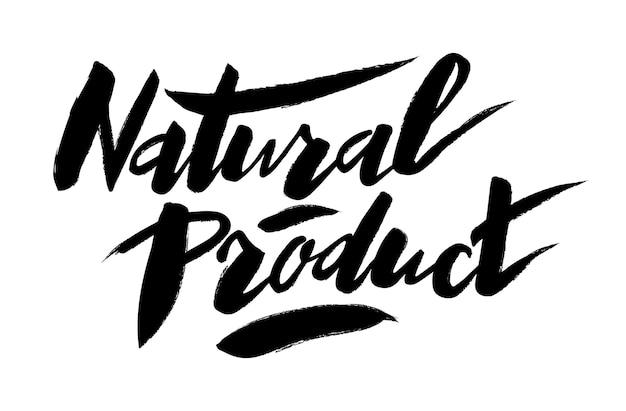 Lettrage manuscrit de produit naturel conception de vecteur de typographie de produit naturel pour cartes de voeux