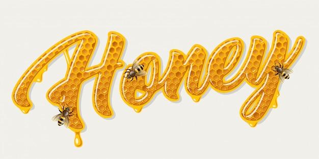 Lettrage de miel avec des abeilles
