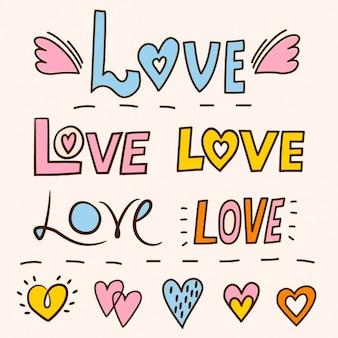 Lettrage avec le mot amour