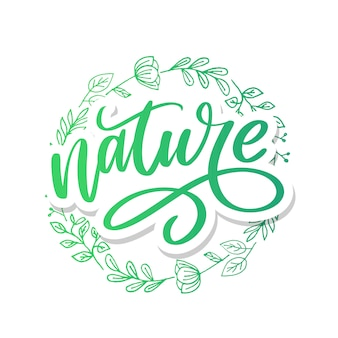 Lettrage nature avec calligraphie au pinceau.