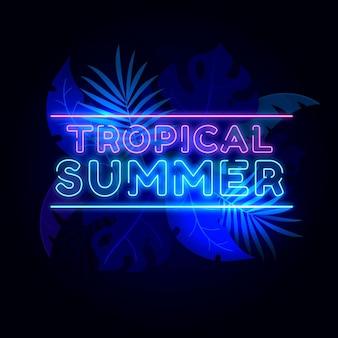 Lettrage néon tropical
