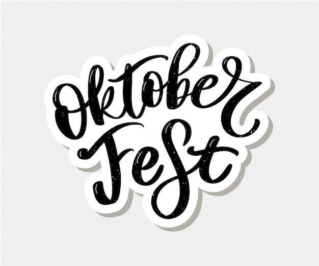 Lettrage noir et blanc d'oktoberfest