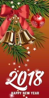 Lettrage de nouvel an avec des cloches