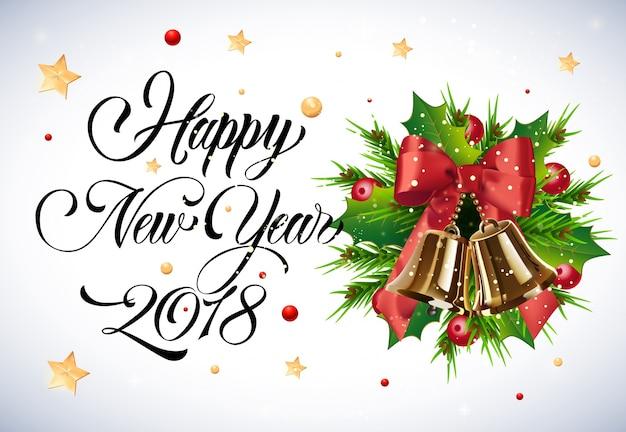 Lettrage de nouvel an avec gui et cloches