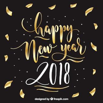 Lettrage d'or bonne année 2018