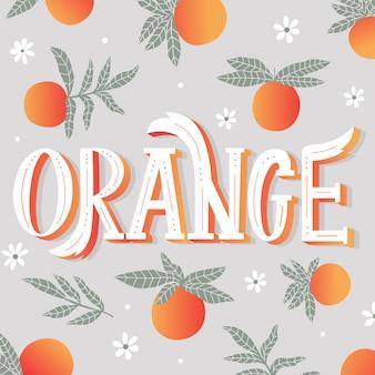Lettrage d'orange avec ornement de fruits orange