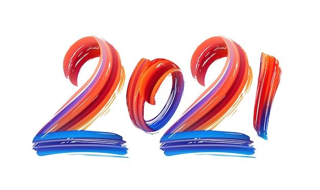 Lettrage de peinture de couleur de trait de pinceau dessiné à la main de 2021
