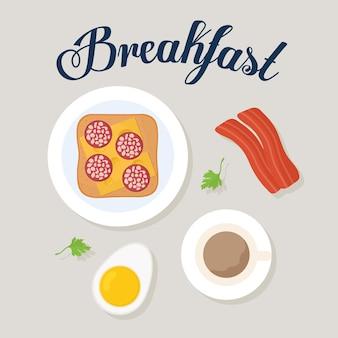 Lettrage de petit-déjeuner et pain avec un fromage et pepperoni dans le dessus