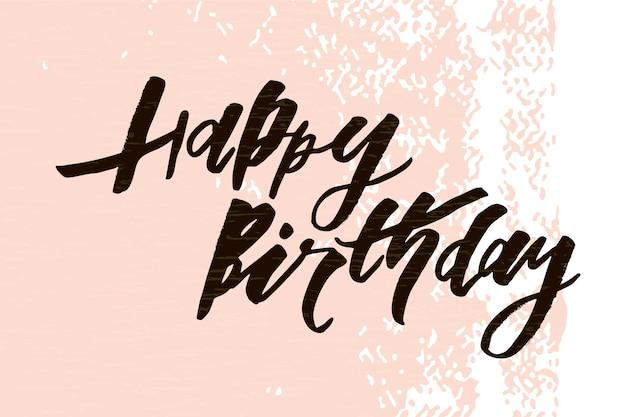 Lettrage avec phrase joyeux anniversaire. illustration vectorielle couleur
