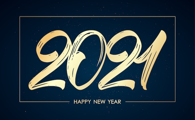 Lettrage de pinceau doré manuscrit pour le nouvel an