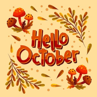 Lettrage plat bonjour octobre dessiné à la main