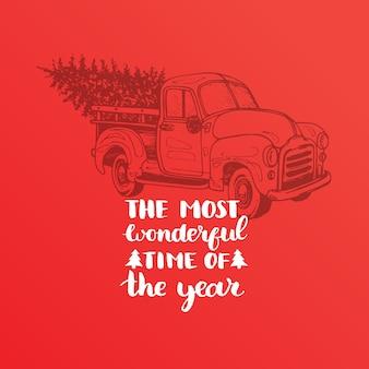 Le lettrage le plus merveilleux de l'année. illustration de ramassage de jouet de noël.