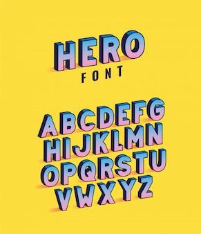 Lettrage de polices de héros avec alphabet sur la conception de fond jaune, thème rétro et bande dessinée de typographie