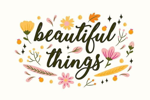 Lettrage positif avec fond de fleurs