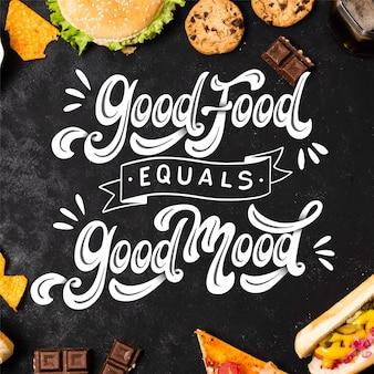 Lettrage positif avec de la nourriture