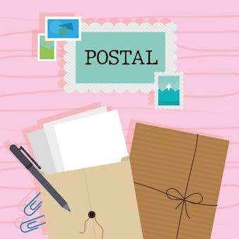 Lettrage postal en timbre