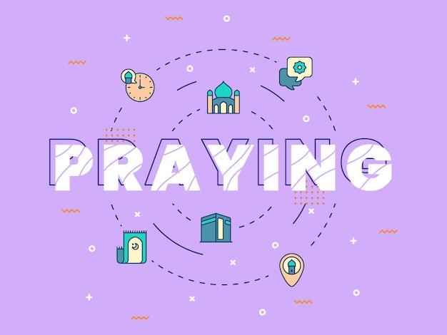 Lettrage de prière avec des éléments ramadan et eid mubarak