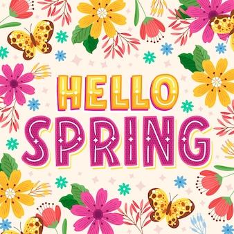 Lettrage de printemps bonjour dessiné à la main