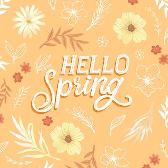 Lettrage de printemps coloré avec décoration