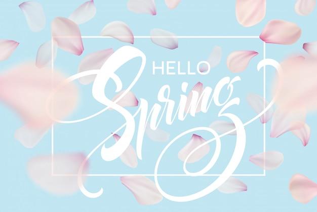 Lettrage de printemps. couleur rose fleur de cerisier sakura