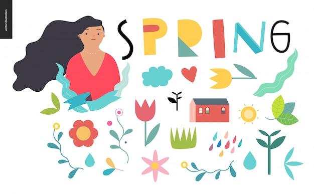 Lettrage de printemps et éléments
