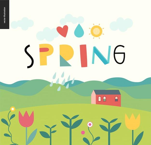 Lettrage de printemps et paysage
