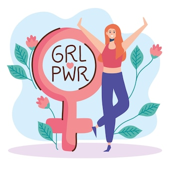 Lettrage de puissance de fille avec illustration de symbole femme et sexe