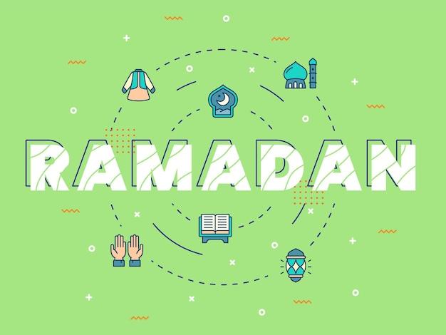 Lettrage de ramadan avec des éléments de ramadan