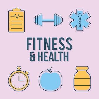 Lettrage de remise en forme et de santé avec ensemble d'icônes de remise en forme et de santé