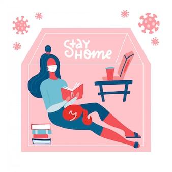Le lettrage reste à la maison. jeune femme au masque médical, lecture de livre. auto-isolement de la pandémie de coronavirus, soins de santé, protection. illustration plate. covid-19 en dehors de la silhouette de la maison