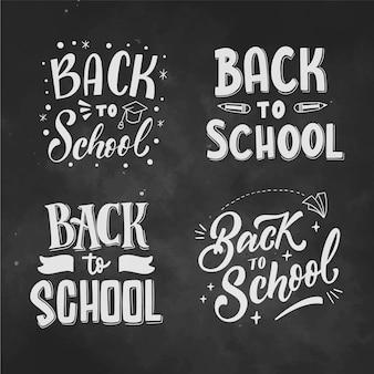 Lettrage de retour à l'école dessiné à la main