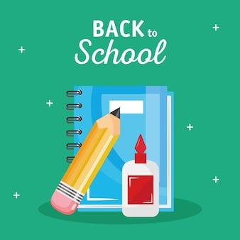Lettrage de retour à l'école avec livre de thé et crayon