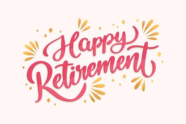 Lettrage de retraite heureux dessiné à la main