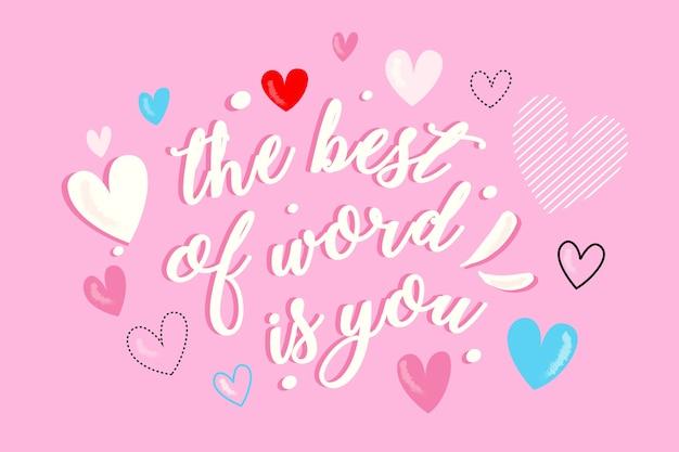 Lettrage romantique coloré pour la saint-valentin