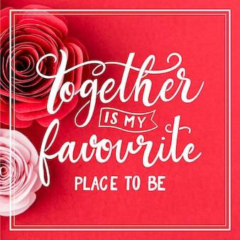 Lettrage romantique avec des roses