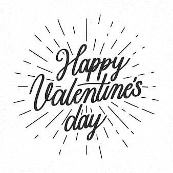 Lettrage de la saint-valentin heureux en noir et blanc