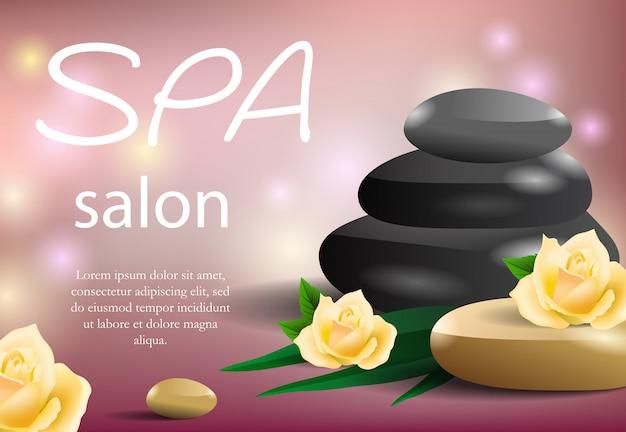 Lettrage de salon spa avec pile de pierre et roses jaunes.