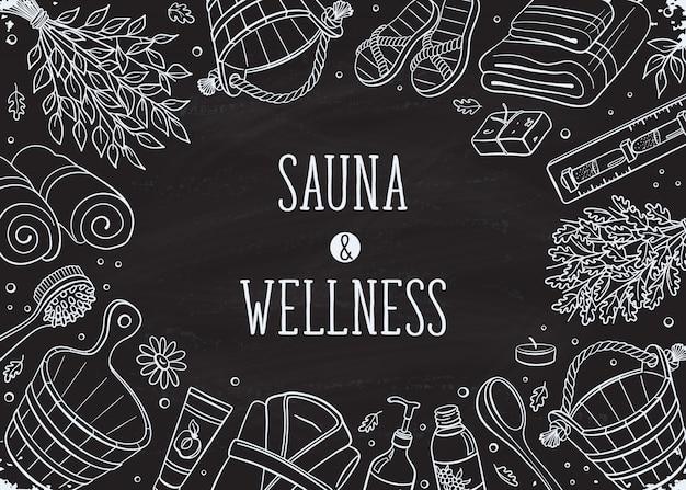Lettrage de sauna avec ensemble d'éléments dessinés à la main