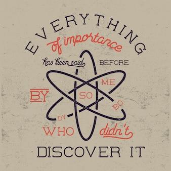 Lettrage scientifique vintage avec la loi de stigler sur l'éponyme et l'atome. illustration de style de couleurs rétro