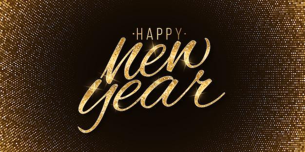 Lettrage scintillant de nouvel an doré avec fond de demi-teintes. texte de vacances de luxe.