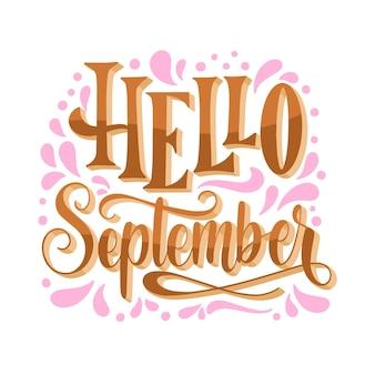 Lettrage de septembre bonjour dessiné à la main